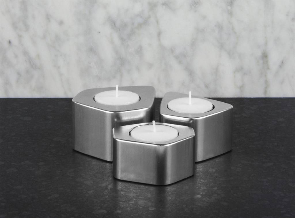 Epos of Sweden Voronoi candle holders silver set of 3