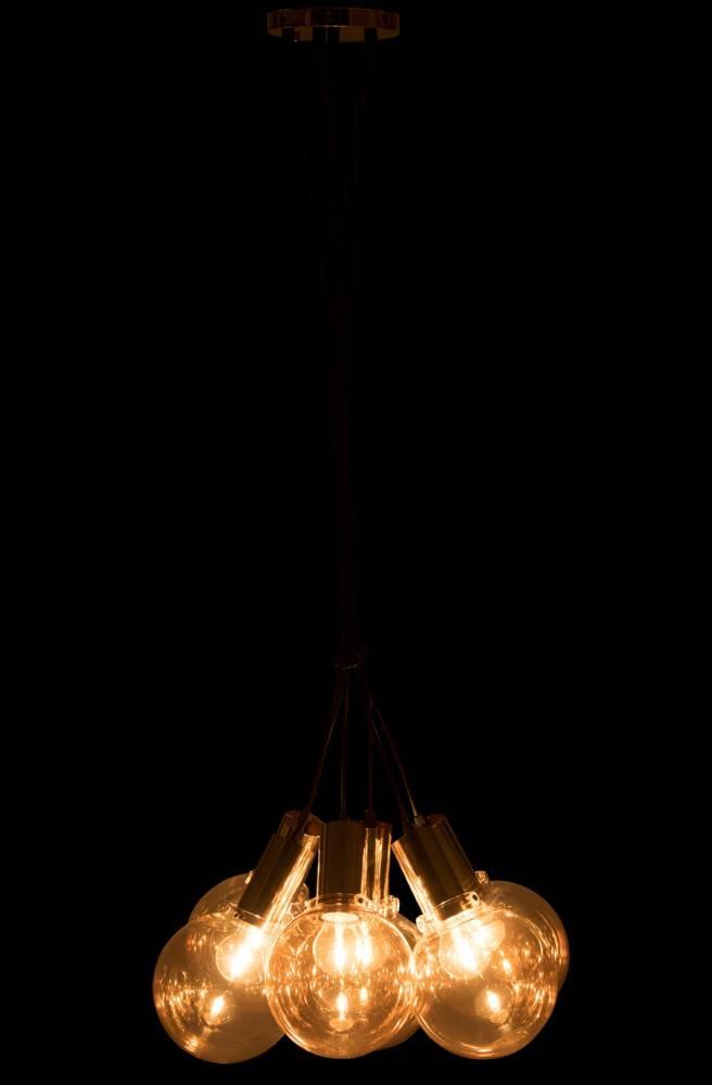 J-Line Hanglamp 6 bollen metaal/ glas zwart/goud