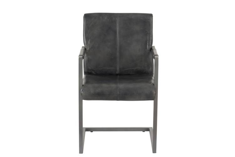 J-Line Chair leather/metal grey set of 2