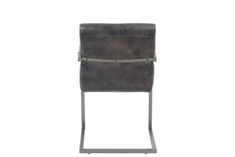 J-Line Stoel leder/metaal grijs