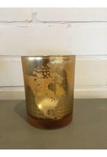 J-Line Theelichthouder wereldkaart S goud/zilver
