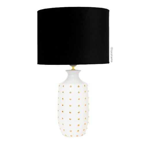 Loco Lama Ceramic Lamp White Small Dots