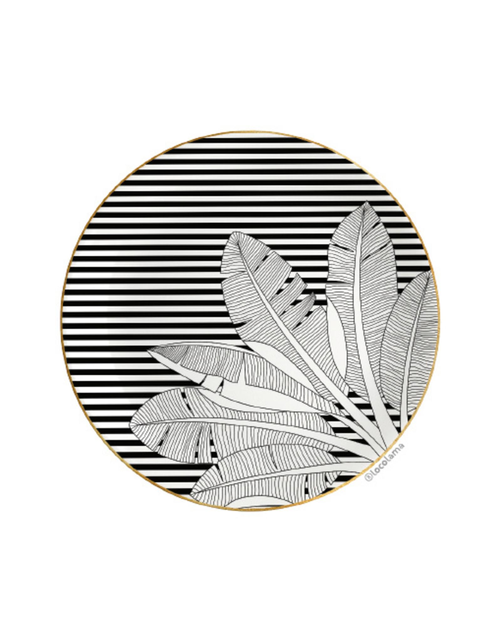 Loco Lama Decorative Wall Plate Palm Black & White Stripes