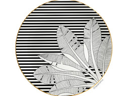 Loco Lama Decorative Wall Plate Palm Black & White Stripes