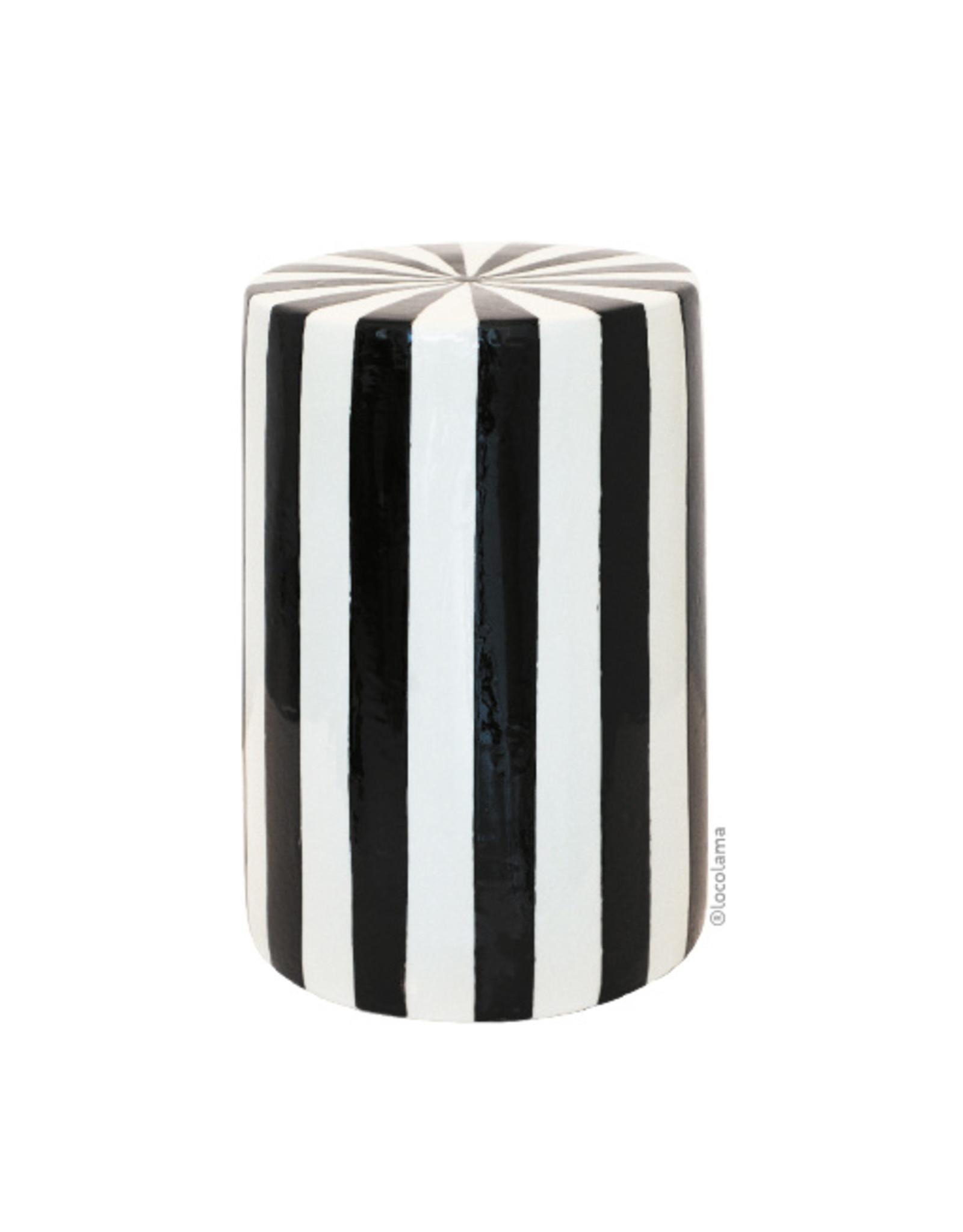 Loco Lama Bijzettafel / krukje Zwart & Wit strepen