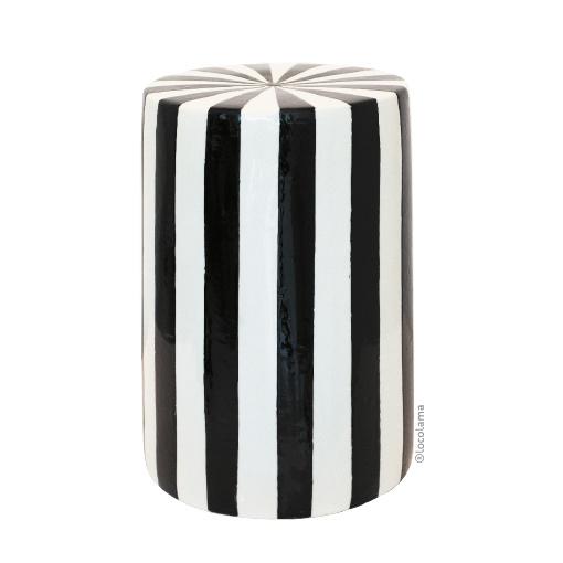 Loco Lama Ceramic Table/Stool Black & White stripes