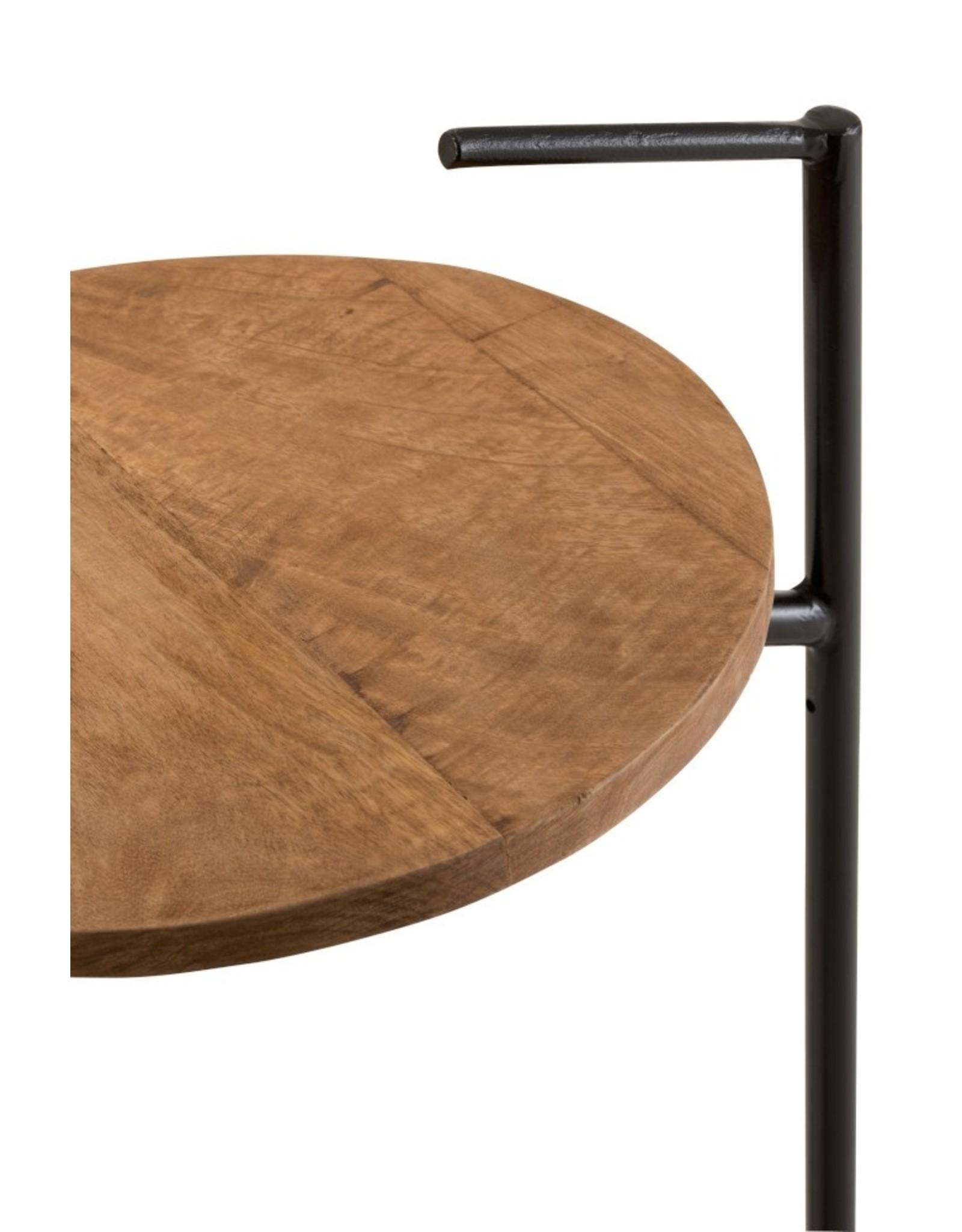 J-Line Bijzettafel rond mango hout/ijzer