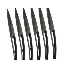 Deejo 6 steak knives, black