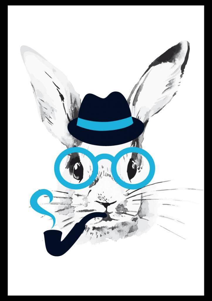 Lé Papiers de Ninon poster konijn blauw
