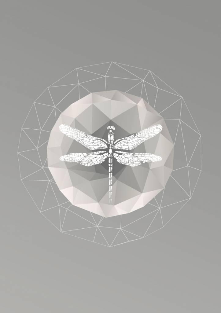Lé Papiers de Ninon Poster A3 grijs libelle