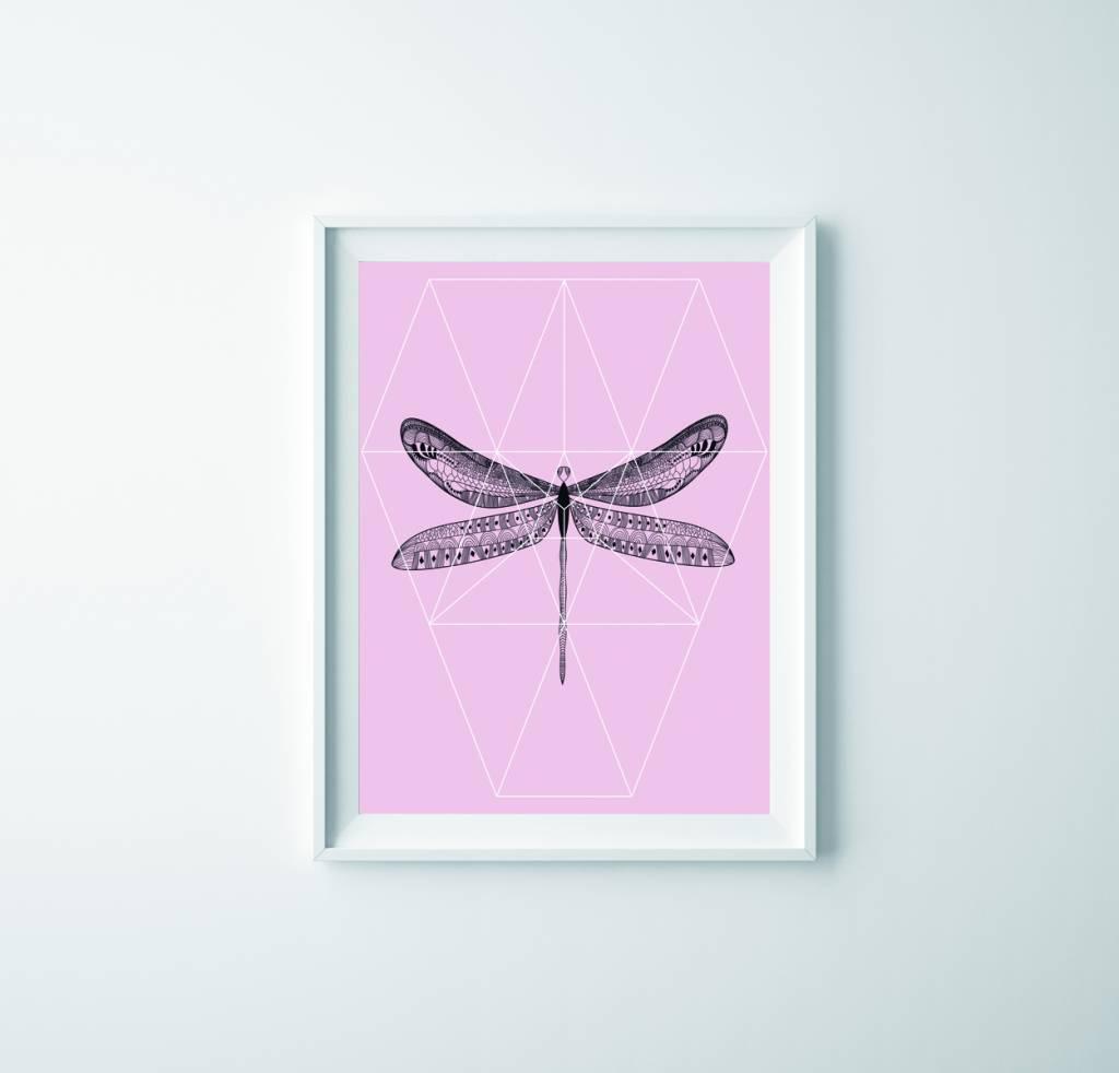 Lé Papiers de Ninon Poster A3 roze libel