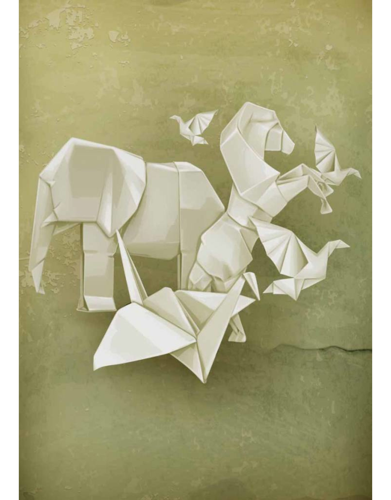 Lé Papiers de Ninon Poster A3 origami groen