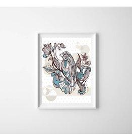 Lé Papiers de Ninon Poster Bird and flower
