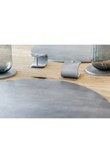 Double Stitched Lederen placemat rond Polished Concrete