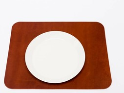 Double Stitched Leather placemat cognac
