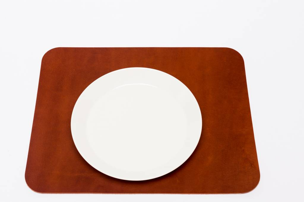 Double Stitched Leather placemat rectangular cognac