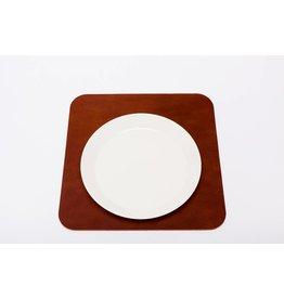 Double Stitched Leather placemat square cognac