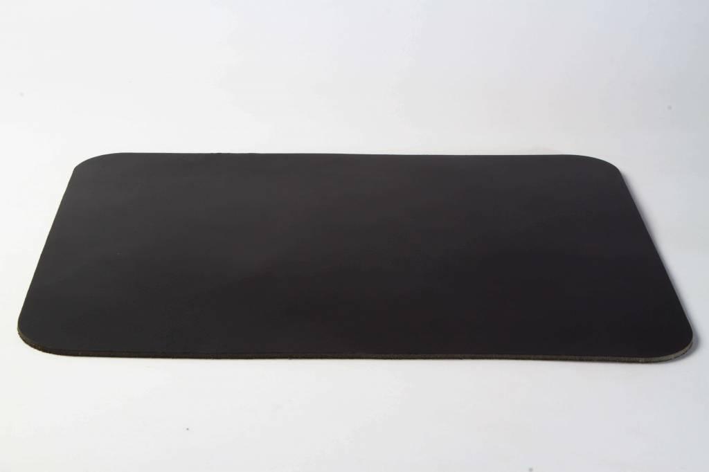 Double Stitched Lederen placemat Rechthoek Carbon Black