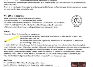 Infoblatt Schuhanprobe