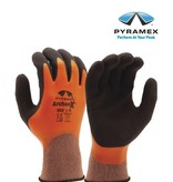 Pyramex GL502 -  Nylon-Strickhandschuhe orange + schwarz, mit Latex-Vollbeschichtung