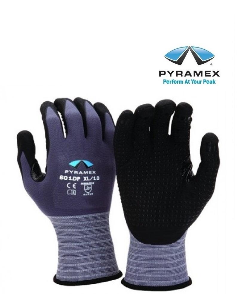 Pyramex GL601DP - Nylon-Strickhandschuhe  mit Schaum-Nitrilbeschichtung schwarz