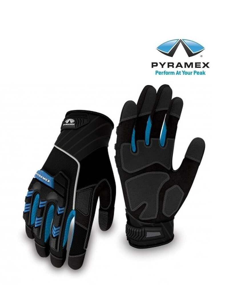 Pyramex GL201 -  Kunstleder-Neopren-Handschuh schwarz + blau mit Klettband-Verschluss, Innenfläche PVC-verstärkt, Handrücken mit div. Protektoren