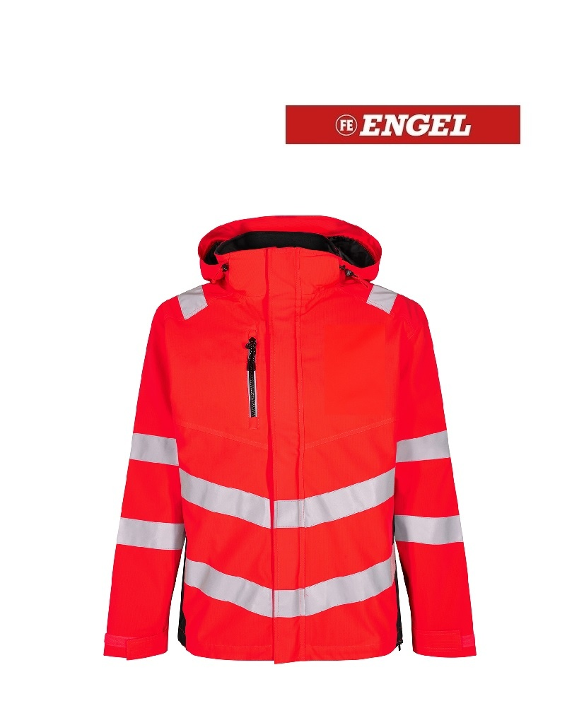 Engel FE1146.4720 K.S - Softshelljacke, EN 20741 Klasse 3, Leuchtrot mit Schwarz