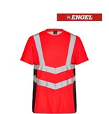 Engel FE9544.4720 K.S - T-Shirt Kurzarm, EN 20471 Kl. 2, Leuchtrot mit Schwarz