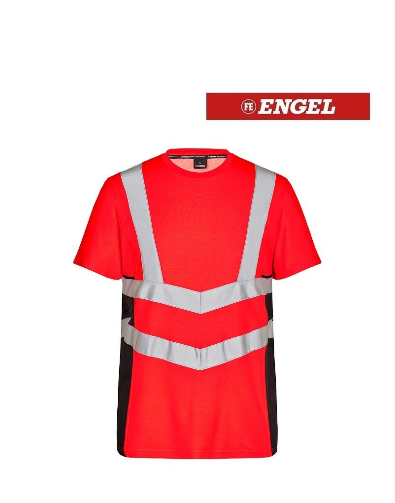 Engel 9544.182.4720 K.S - T-Shirt Kurzarm, EN 20471 Kl. 2, Leuchtrot mit Schwarz