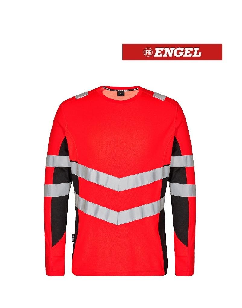 Engel FE9545.4720 K.S - T-Shirt Langarm, EN 20471 Kl. 2, Leuchtrot mit Schwarz