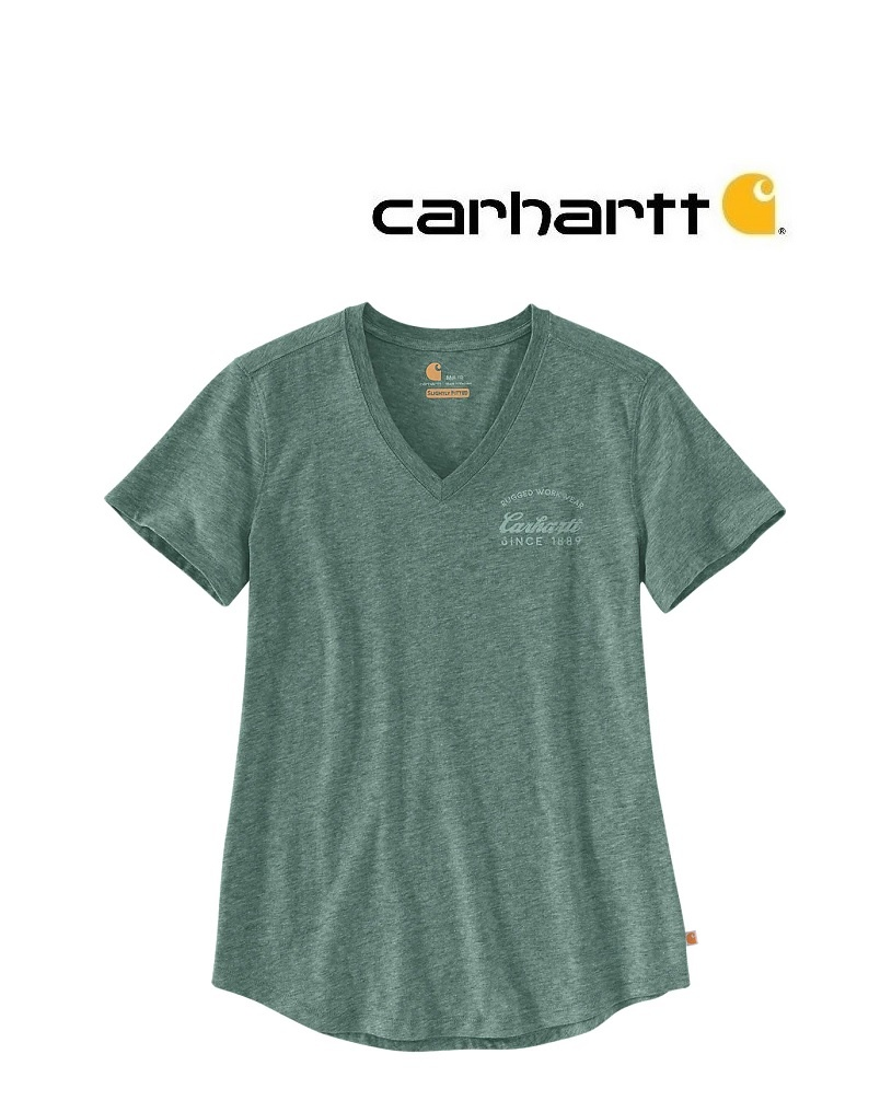Carhartt Kleider 104227.G25 LOCKHART GRAPHIC V-NECK T-SHIRTgrün