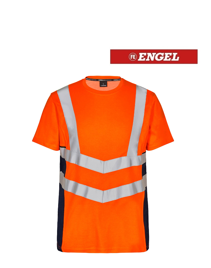 Engel FE9544.10165 K.S - T-Shirt Kurzarm, EN 20471 Kl. 2, Orange-Navy
