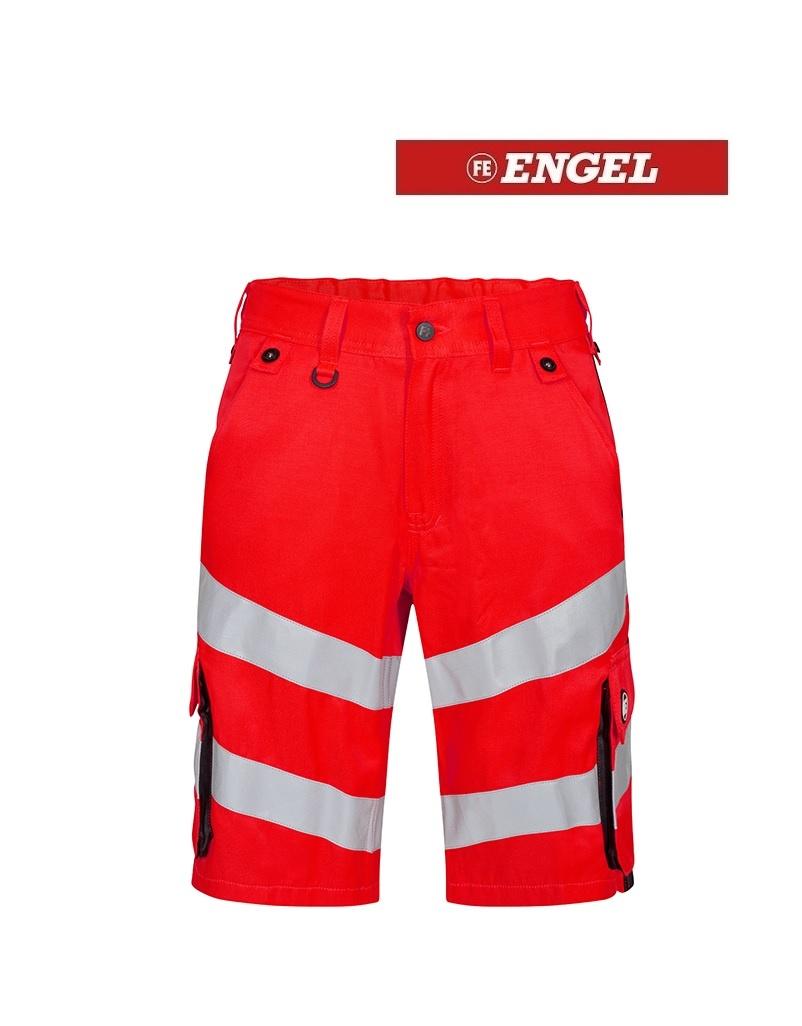 Engel FE6545.4720 - Warnschutzhose kurz, EN 20741 Klass 2, leuchtrot-schwarz