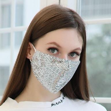 Partymaske/Glitzermaske - Gold, Silber, oder Schwarz mit auswechselbarem Filter