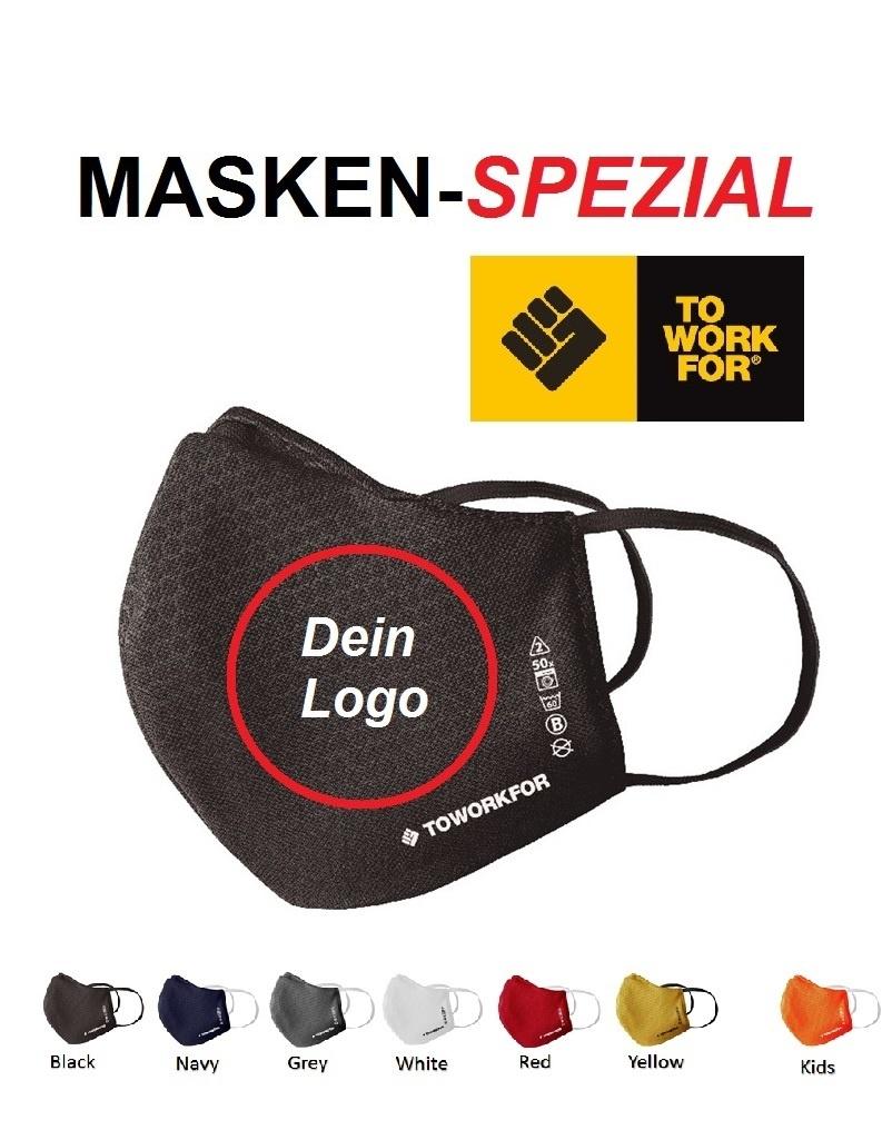 To Work For Mask01 - COVID19 Masken in grossen Stückzahlen  (ab 500 Stück) und vielen Farben