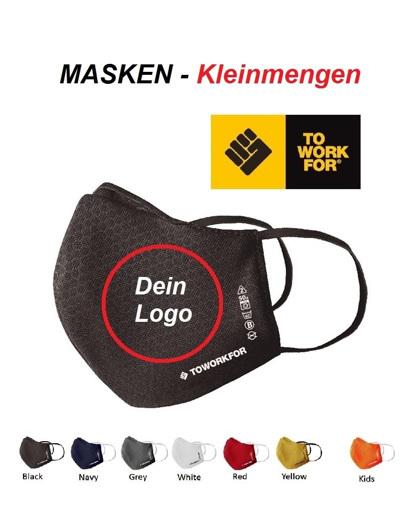 To Work For Mask01 - COVID19 Masken in kleinen Mengen und vielen Farben inklusive einfarbigem Druck