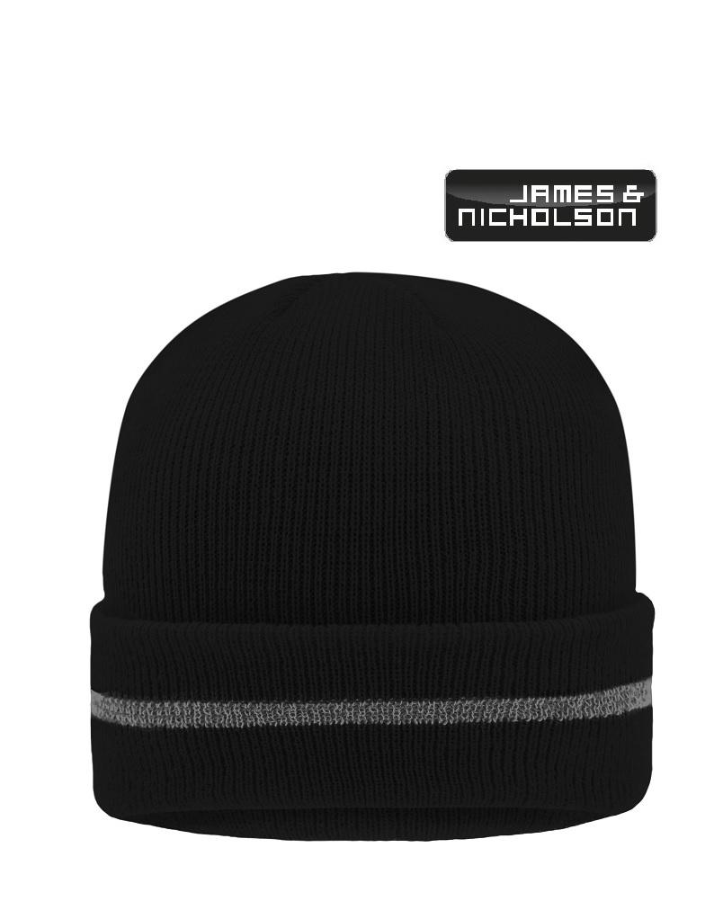 James Nicholson MB7141 black  Mütze, Reflective Beanie (black/silver)