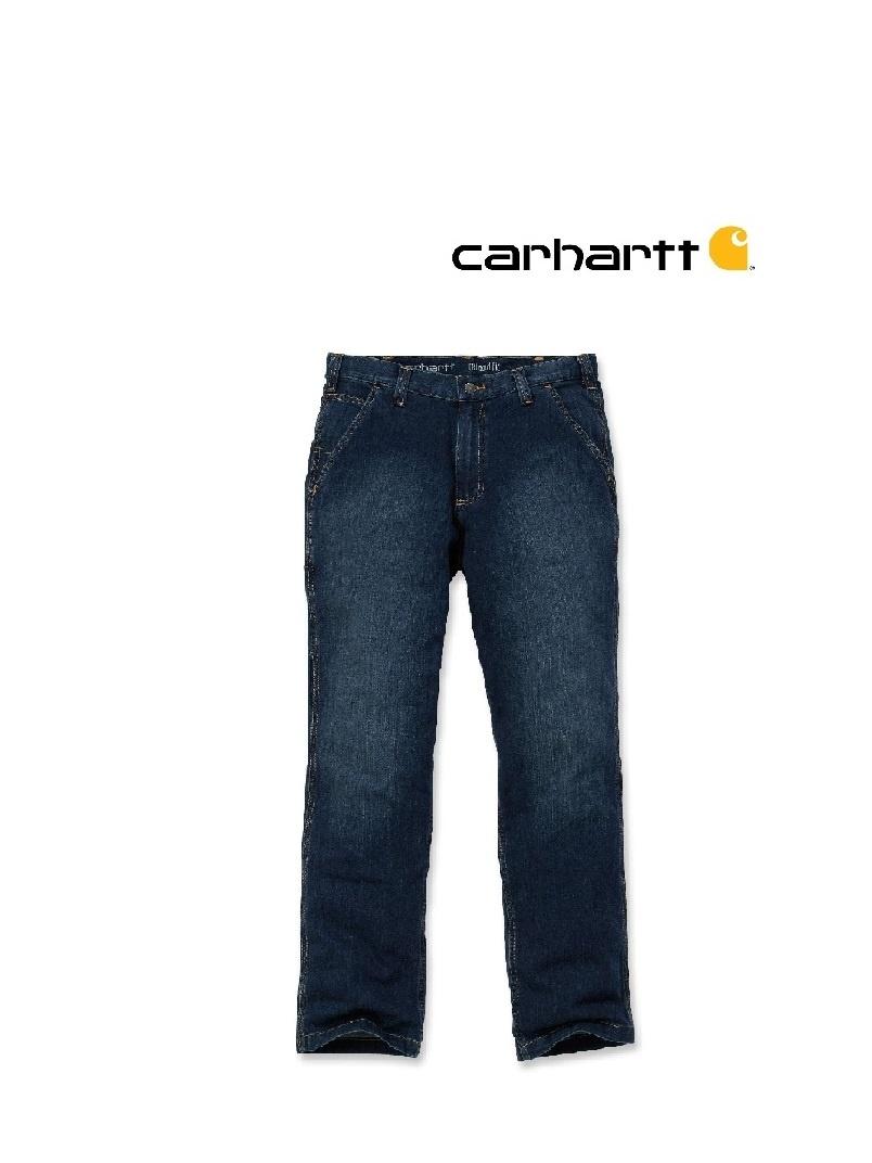 Carhartt Kleider 102808.498 - Carhartt, Arbeitshose, Rugged Flex, Jeans, mit Metertasche, Blau