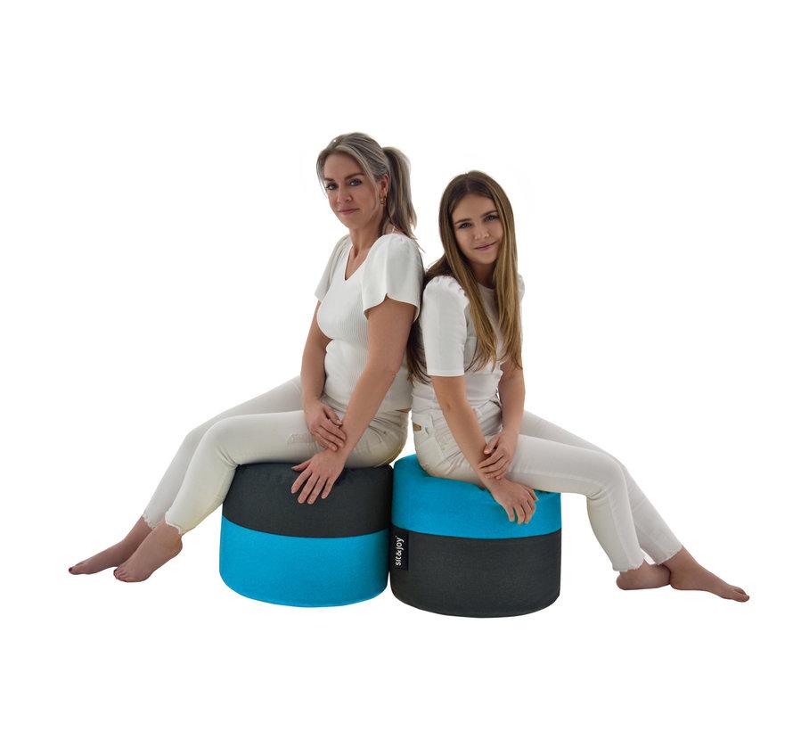 Duo Rondo - Mint Blauw - Poef/Zitzak