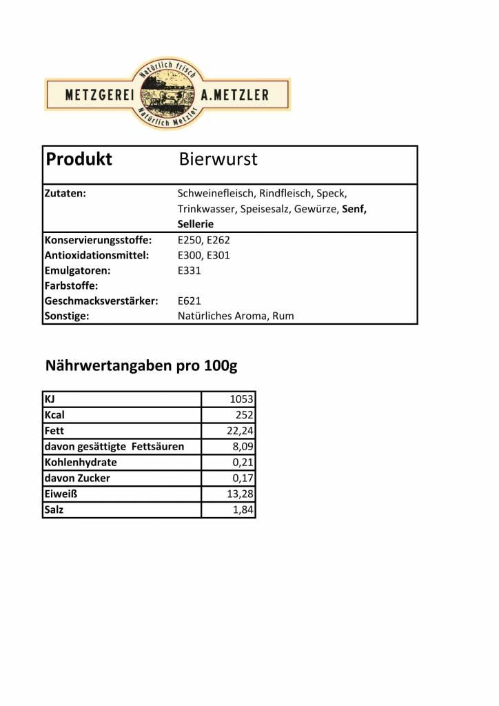 Metzgerei Metzler Bierwurst, Schwein/Rind 125g