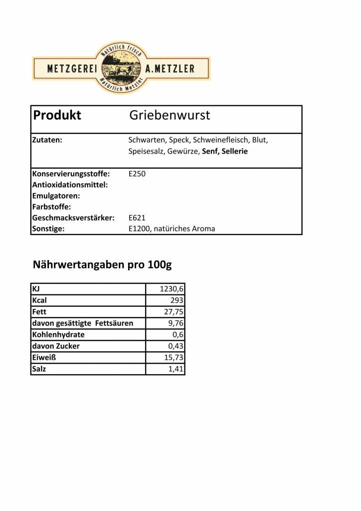 Metzgerei Metzler Griebenwurst, Schwein 125g