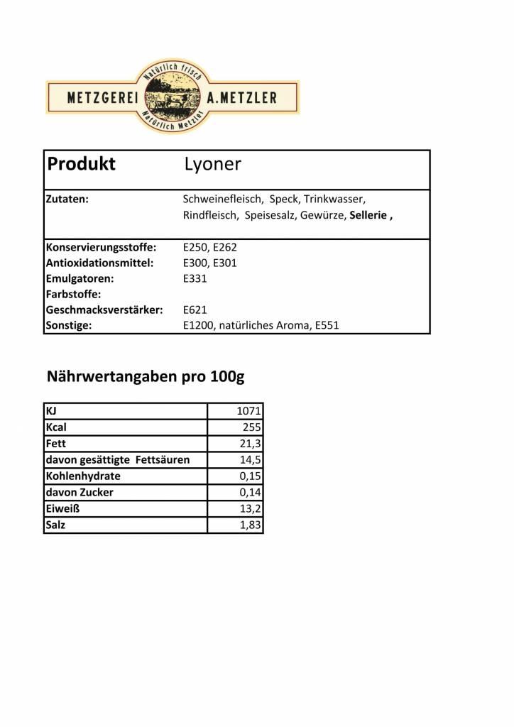 Metzgerei Metzler Lyoner, Schwein/Rind 125g
