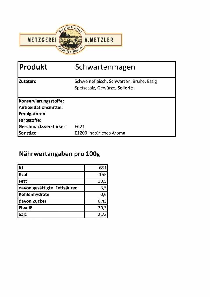 Metzgerei Metzler Hausmacher Schwartenmagen, Schwein 300g