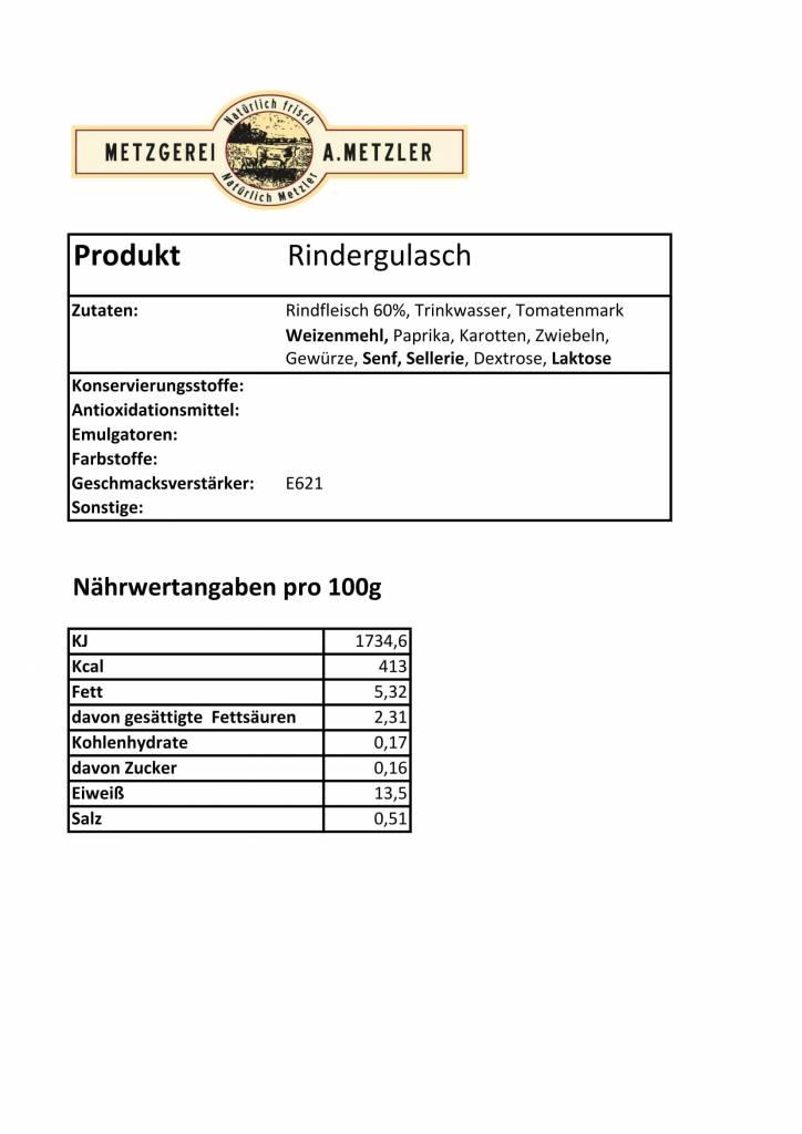Metzgerei Metzler Rindergulasch, 300g