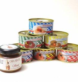 Oberschwäbisches Vesperpäckle 6 Dosen Wurst +BBQ Senf