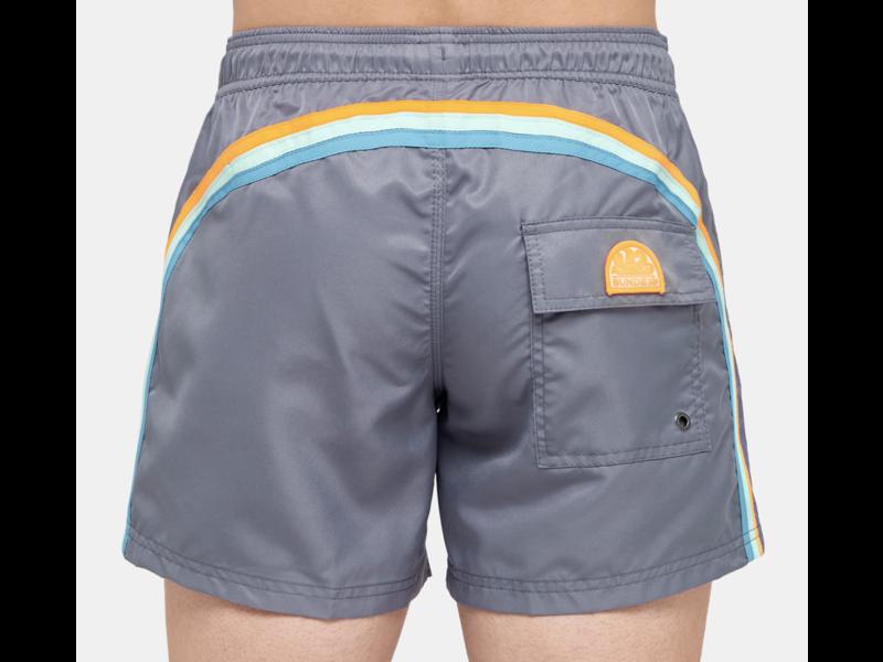 "Sundek M504  14""Mid Length Swim Shorts with Rainbow Logo"