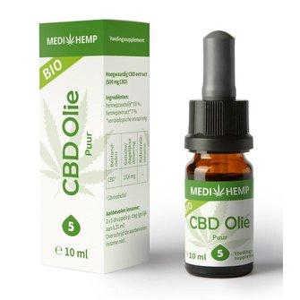 Biologische CBD Olie Puur 5% 10 ml MediHemp