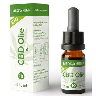 Biologische CBD Olie Puur 10%, 10 ml MediHemp