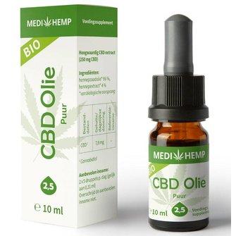 Biologische CBD Olie Puur 2,5% 10 ml (MediHemp)