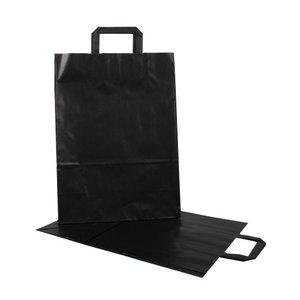 Papieren tas 32+15x43 cm zwart - 250 stuks